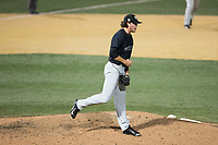Wake Forest Demon Deacons relief pitcher Griffin Roberts (43) reacts after getting the final out in the game against the West Virginia Mountaineers in Game Six of the Winston-Salem Regional in the 2017 College World Series at David F. Couch Ballpark on June 4, 2017 in Winston-Salem, North Carolina.  The Demon Deacons defeated the Mountaineers 12-8.  (Brian Westerholt/Four Seam Images)