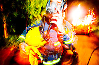 Firefighter removing Breathing Apparatus after a distressing incident Oxfordshire UK. This image may only be used to portray the subject in a positive manner..©shoutpictures.com..john@shoutpictures.com