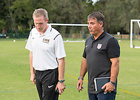 Orlando, FL - Friday Oct. 14, 2016:   A candidate speaks speaks to coaching instructor Louis Mateus during a US Soccer Coaching Clinic in Orlando, Florida.
