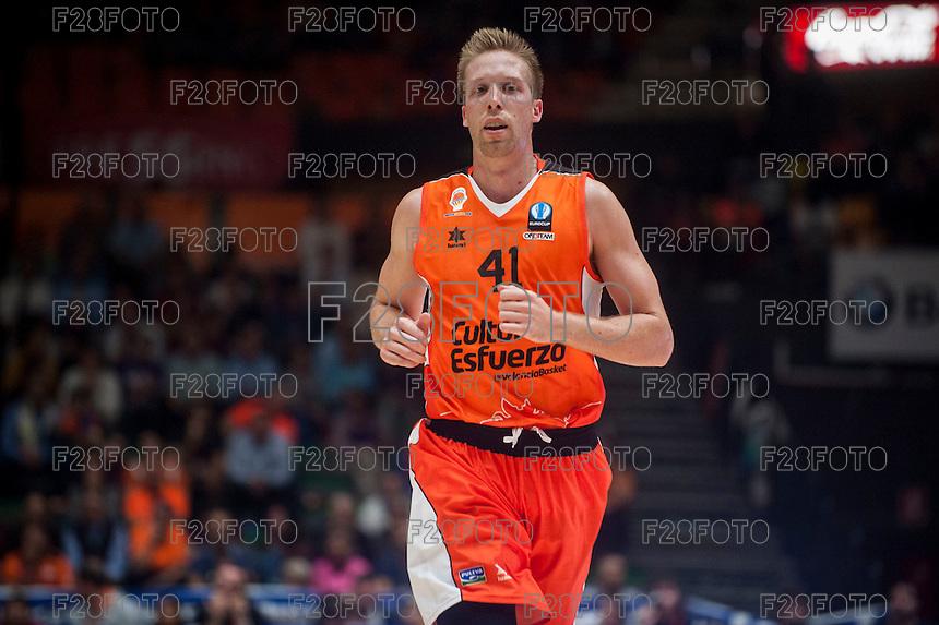 VALENCIA, SPAIN - NOVEMBER 3: Justin Hamilton during EUROCUP match between Valencia Basket Club and CAI Zaragozaat Fonteta Stadium on November 3, 2015 in Valencia, Spain