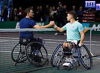 Rotterdam, The Netherlands, 14 Februari 2020, ABNAMRO World Tennis Tournament, Ahoy, Wheelchair: Gordon Reid (GBR), Joachim Gerard (BEL).<br /> Photo: www.tennisimages.com