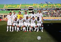 The United States team, Back row, Jared JEFFREY (8), Kyle DAVIES (6), Brian PERK (13), Mikkel DISKERUD (11), Ike OPARA (16), Brek SHEA (20), front row, Gerson MAYEN (14), Brian OWNBY (15), Tony TAYLOR (7), Dillon POWERS (3), Gale AGBOSSOUMONDE (2)  poses for a photo before the FIFA Under 20 World Cup Group C Match between the United States and Germany at the Mubarak Stadium on September 26, 2009 in Suez, Egypt.
