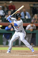 Salt River Rafters outfielder Kenny Wilson (12), of the Toronto Blue Jays organization, during an Arizona Fall League game against the Scottsdale Scorpions on October 9, 2013 at Scottsdale Stadium in Scottsdale, Arizona.  Salt River defeated Scottsdale 12-2.  (Mike Janes/Four Seam Images)