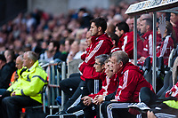 Saturday 17 August 2013<br /> <br /> Pictured: Michael Laudrup and the Swansea City bench <br /> <br /> Re: Barclays Premier League Swansea City v Manchester United at the Liberty Stadium, Swansea, Wales