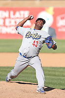Gustavo Gomez #43 of the Rancho Cucamonga Quakes pitches against the High Desert Mavericks at Stater Bros. Stadium on May 27, 2014 in Adelanto, California. High Desert defeated Rancho Cucamonga, 5-4. (Larry Goren/Four Seam Images)