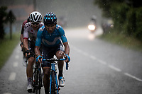 Nairo Quintana (COL/Movistar) & Michal Kwiatkowski (POL/Ineos) trying to break free to the front of the race and forcing their way through the torrential rain <br /> <br /> Stage 7: Saint-Genix-les-Villages to Pipay  (133km)<br /> 71st Critérium du Dauphiné 2019 (2.UWT)<br /> <br /> ©kramon