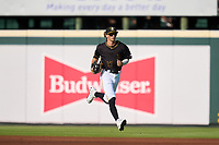 Bradenton Marauders outfielder Hudson Head (17) jogs to the dugout during a game against the Fort Myers Mighty Mussels on May 6, 2021 at LECOM Park in Bradenton, Florida.  (Mike Janes/Four Seam Images)