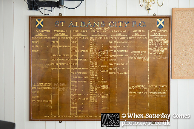 St Albans 0 Watford 5, 26/07/2014. Clarence Park, Pre Season Friendly. The club honours board before the Pre Season friendly between St Albans City and Watford from Clarence Park Stadium. Watford won the game 5-0. Photo by Simon Gill.