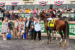 ELMONT, NY - JUNE 11: Joel Rosario, aboard Shaman Ghost, poses for a photo in the winner's circle after winning the Brooklyn Invitational Stakes on Belmont Stakes Day on June 11, 2016 in Elmont, New York. (Photo by Sue Kawczynski/Eclipse Sportswire/Getty Images)