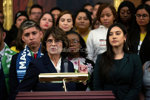 United States Representative Lucille Royal-Allard (Democrat of California), joined by other Democratic lawmakers, speaks during a press conference on the Deferred Action for Childhood Arrivals program on Capitol Hill in Washington D.C., U.S. on Tuesday, November 12, 2019.  The Supreme Court is currently hearing a case that will determine the legality and future of the DACA program.  <br /> <br /> Credit: Stefani Reynolds / CNP /MediaPunch