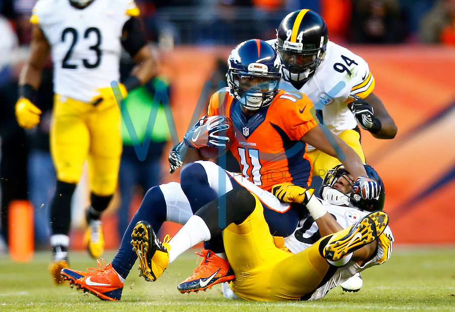 Jordan Norwood #11 of the Denver Broncos is tackled by Ryan Shazier #50 of the Pittsburgh Steelers during the AFC Divisional Round Playoff game at Sports Authority Field at Mile High on January 17, 2016 in Denver, Colorado. (Photo by Jared Wickerham/DKPittsburghSports)