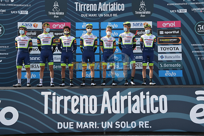 Intermarché-Wanty-Gobert Matériaux at sign on before the start of Stage 1 of Tirreno-Adriatico Eolo 2021, running 156km from Lido di Camaiore to Lido di Camaiore, Italy. 10th March 2021. <br /> Photo: LaPresse/Gian Mattia D'Alberto | Cyclefile<br /> <br /> All photos usage must carry mandatory copyright credit (© Cyclefile | LaPresse/Gian Mattia D'Alberto)