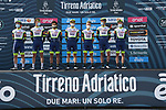 Intermarché-Wanty-Gobert Matériaux at sign on before the start of Stage 1 of Tirreno-Adriatico Eolo 2021, running 156km from Lido di Camaiore to Lido di Camaiore, Italy. 10th March 2021. <br /> Photo: LaPresse/Gian Mattia D'Alberto   Cyclefile<br /> <br /> All photos usage must carry mandatory copyright credit (© Cyclefile   LaPresse/Gian Mattia D'Alberto)