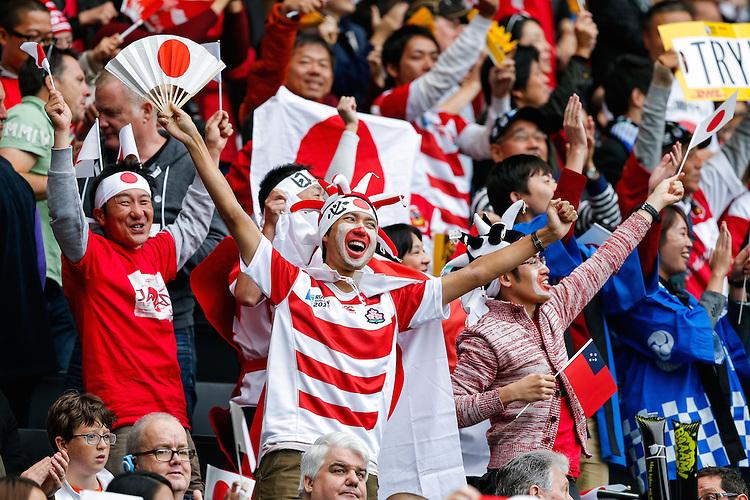 Japan fans celebrate - Mandatory byline: Rogan Thomson - 03/10/2015 - RUGBY UNION - Stadium:mk - Milton Keynes, England - Samoa v Japan - Rugby World Cup 2015 Pool B.