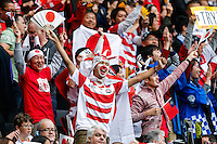 Japan fans celebrate - Mandatory byline: Rogan Thomson - 03/10/2015 - RUGBY UNION - Stadium:mk - Milton Keynes, England - Samoa v Japan - Rugby World Cup 2015 Pool B.