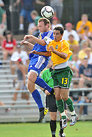 Ely Allen (blue), Gauchinho (#13 stl)...AC St Louis and NSC Minnesota Stars played to a 2-2 tie at Anheuser-Busch Soccer Park, Fenton, Missouri.
