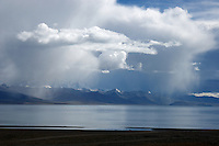 A rainstorm over Namtso Lake in Tibet is the highes saltwater lake in the world with an elevation of 4800 meters.