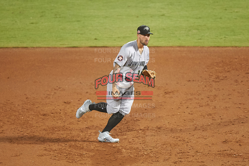 Peoria Javelinas first baseman J.J. Matijevic (10), of the Houston Astros organization, flips the ball to the pitcher covering the base during an Arizona Fall League game against the Mesa Solar Sox on September 21, 2019 at Sloan Park in Mesa, Arizona. Mesa defeated Peoria 4-1. (Zachary Lucy/Four Seam Images)