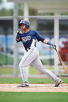 GCL Rays catcher Alexander Alvarez (8) at bat during the second game of a doubleheader against the GCL Red Sox on August 9, 2016 at JetBlue Park in Fort Myers, Florida.  GCL Rays defeated GCL Red Sox 9-1.  (Mike Janes/Four Seam Images)