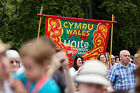 Pictured: Labour supporters. Sunday 01 July 2018<br /> Re: Labour Party leader Jeremy Corbyn at the celebration for the 70 years since the National Health Service (NHS) was founded by Aneurin Bevan, Bedwellty Park, Tredegar, Wales, UK.