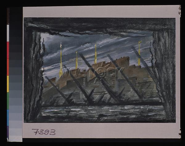 Dobuschinski, Mstislaw Walerianowitsch (1875-1957), Die Leningrader Blockade. Bildentwurf f nichtrealisierten Ballett, Gouache auf Papier. Theatermalerei, 1945, Russland, Staatliche Tretjakow-Galerie, Moskau. | Dobuzhinsky, Mstislav Valerianovich (1875-1957), The Siege of Leningrad. Stage design for the non realized ballet, Gouache on paper. Theatrical scenic painting, 1945, Russia, State Tretyakov Gallery, Moscow. VG-Bild-Kunst Bonn  Credit: culture-images/fai  Persoenlichkeitsrechte werden nicht vertreten.  Verwendung / usage: weltweit / worldwide