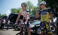 2013 Giro d'Italia.stage 10..fellow Danish Lars Bak & Matti Breschel meet up before the start in Cordenons.