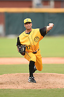 Jacksonville Suns  pitcher Greg Nappo (37) delivers a pitch during a game against the Pensacola Blue Wahoos on April 20, 2014 at Bragan Field in Jacksonville, Florida.  Jacksonville defeated Pensacola 5-4.  (Mike Janes/Four Seam Images)