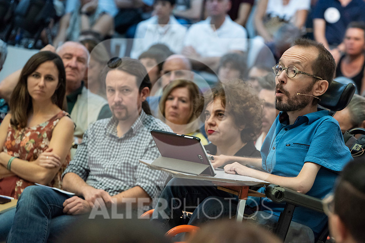 Pablo Iglesias, secretary general of Podemos; Pablo Echenique, Secretary of Government Action, Institutional Action and Program; Ione Belarra, deputy spokesperson for United We can; Gloria Elizo, secretary in Podemos of Politices against corruption; in a meeting of Podemos with people in Madrid where they exchange points of view, listen to concerns and draw shared horizons.<br /> October 5, 2019. <br /> (ALTERPHOTOS/David Jar)