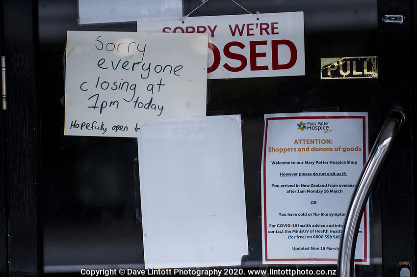 Mary Potter Hospice shop front in Karori town centre at 4pm, Wednesday, during lockdown for the COVID19 pandemic in Wellington, New Zealand on Wednesday, 22 April 2020. Photo: Dave Lintott / lintottphoto.co.nz
