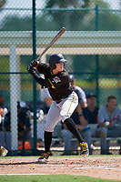 Pittsburgh Pirates first baseman Will Craig (49) at bat during a Florida Instructional League game against the Detroit Tigers on October 2, 2018 at the Pirate City in Bradenton, Florida.  (Mike Janes/Four Seam Images)