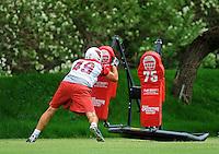 May 20, 2009; Tempe, AZ, USA; Arizona Cardinals tight end Alex Shor does tackle dummy drills during organized team activities at the Cardinals practice facility. Mandatory Credit: Mark J. Rebilas-