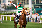 SHA TIN,HONG KONG-APRIL 30: Neorealism ,ridden by Joao Moreira, after winning the Audemars Piguet QEII Cup at Sha Tin Racecourse on April 30,2017 in Sha Tin,New Territories,Hong Kong (Photo by Kaz Ishida/Eclipse Sportswire/Getty Images)