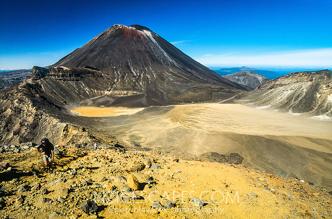Tongariro Crossing Track among living volcanes. Mt. Ngauruhoe (2291m) dominates the frame, Tongariro National Park, Central Plateau, New Zealand