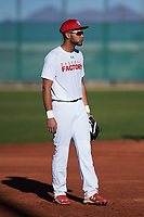 Tyler McKnight (47), from Rapid City, South Dakota, while playing for the Nationals during the Under Armour Baseball Factory Recruiting Classic at Red Mountain Baseball Complex on December 28, 2017 in Mesa, Arizona. (Zachary Lucy/Four Seam Images)
