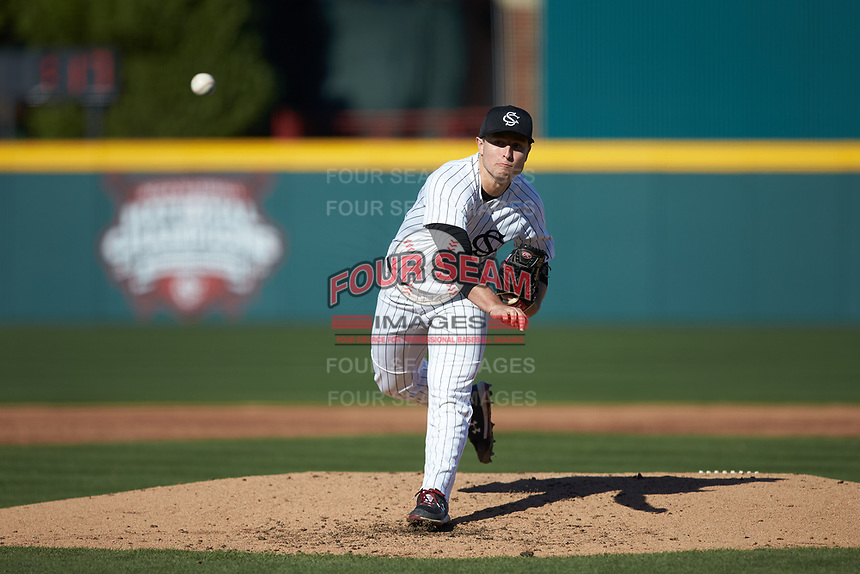 South Carolina Gamecocks starting pitcher Brett Kerry delivers a pitch to the plate against the Holy Cross Crusaders at Founders Park on February 15, 2020 in Columbia, South Carolina. The Gamecocks defeated the Crusaders 9-4.  (Brian Westerholt/Four Seam Images)