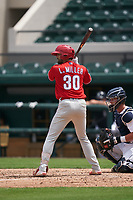 Philadelphia Phillies Luke Miller (30) bats during a Minor League Spring Training game against the Detroit Tigers on April 17, 2021 at Joker Marchant Stadium in Lakeland, Florida.  (Mike Janes/Four Seam Images)