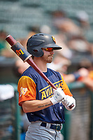 Skye Bolt (2) of the Las Vegas Aviators on deck against the Salt Lake Bees at Smith's Ballpark on July 25, 2021 in Salt Lake City, Utah. The Aviators defeated the Bees 10-6. (Stephen Smith/Four Seam Images)