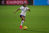 ORLANDO CITY, FL - FEBRUARY 18: Margaret Purce #20 runs with the ball during a game between Canada and USWNT at Exploria stadium on February 18, 2021 in Orlando City, Florida.