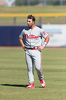Scottsdale Scorpions left fielder Austin Listi (23), of the Philadelphia Phillies organization, during an Arizona Fall League game against the Peoria Javelinas at Peoria Sports Complex on October 18, 2018 in Peoria, Arizona. Scottsdale defeated Peoria 8-0. (Zachary Lucy/Four Seam Images)
