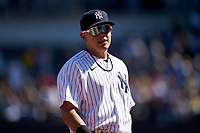 New York Yankees Gio Urshela (29) during a Spring Training game against the Toronto Blue Jays on February 22, 2020 at the George M. Steinbrenner Field in Tampa, Florida.  (Mike Janes/Four Seam Images)