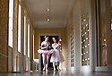04/11/16<br /> <br /> Commission Mcc0073519 Assigned<br /> <br /> L/R: Alice Rathbone (23) and Daisy Edwards (19) look around the house with a model of the Nutcracker Prince.<br /> <br /> Ballerinas pose for photographs in the Painted Hall at Chatsworth House to mark the start of the stately home's Christmas themed  'The Nutcracker'. Join Clara's adventures as she is swept away by her Nutcracker Prince until Jan 3 2017.<br /> <br /> All Rights Reserved F Stop Press Ltd. (0)1773 550665   www.fstoppress.com
