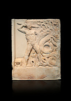 Ancient Greek relief panel depicting the slaying of the Lernaian Hydra from the Labours of Hercules, Mylos, 3rd Cent BC Athens National Archaeological Museum. Cat no 3617.   Against black.