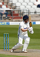 27th May 2021; Emirates Old Trafford, Manchester, Lancashire, England; County Championship Cricket, Lancashire versus Yorkshire, Day 1; Dom Bessof Yorkshire pulls a shot for runs
