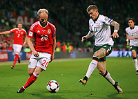 (L-R) Jonathan Williams of Wales marked by James McClean of Ireland during the FIFA World Cup Qualifier Group D match between Wales and Republic of Ireland at The Cardiff City Stadium, Wales, UK. Monday 09 October 2017