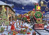 Interlitho-Marcello, CHRISTMAS SANTA, SNOWMAN, WEIHNACHTSMÄNNER, SCHNEEMÄNNER, PAPÁ NOEL, MUÑECOS DE NIEVE, paintings+++++,santa, train,KL6135,#x#,puzzle,puzzles