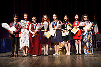 11th USA International Harp Competition winners pose for a group photo after the awards ceremony at Indiana University in Bloomington, Indiana on Saturday, July 13, 2019. Pictured from left are: Valerio Lisci (second), Mathilde Wauters (third), Melanie Laurent (first), Woojin Lee (fifth), Marika Cecilia Riedl (eighth), Se Hee Hwang (fourth), Miriam Ruf (sixth) and Myriam Blardone (seventh). (Photo by James Brosher)
