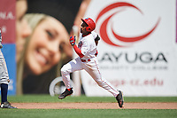 Auburn Doubledays center fielder Armond Upshaw (8) running the bases after hitting a triple during the second game of a doubleheader against the Mahoning Valley Scrappers on July 2, 2017 at Falcon Park in Auburn, New York.  Mahoning Valley defeated Auburn 3-2.  (Mike Janes/Four Seam Images)