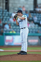 Pulaski Yankees starting pitcher Ken Waldichuk (54) looks to his catcher for the sign against the Burlington Royals at Calfee Park on August 31, 2019 in Pulaski, Virginia. The Yankees defeated the Royals 6-0. (Brian Westerholt/Four Seam Images)