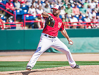 16 March 2014: Washington Nationals pitcher Xavier Cedeno on the mound during a Spring Training Game against the Detroit Tigers at Space Coast Stadium in Viera, Florida. The Tigers edged out the Nationals 2-1 in Grapefruit League play. Mandatory Credit: Ed Wolfstein Photo *** RAW (NEF) Image File Available ***