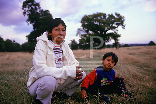 Richmond Park, London. Mira, an Assurini Indian woman with her son, from Koatinemo village during a fundraising visit.